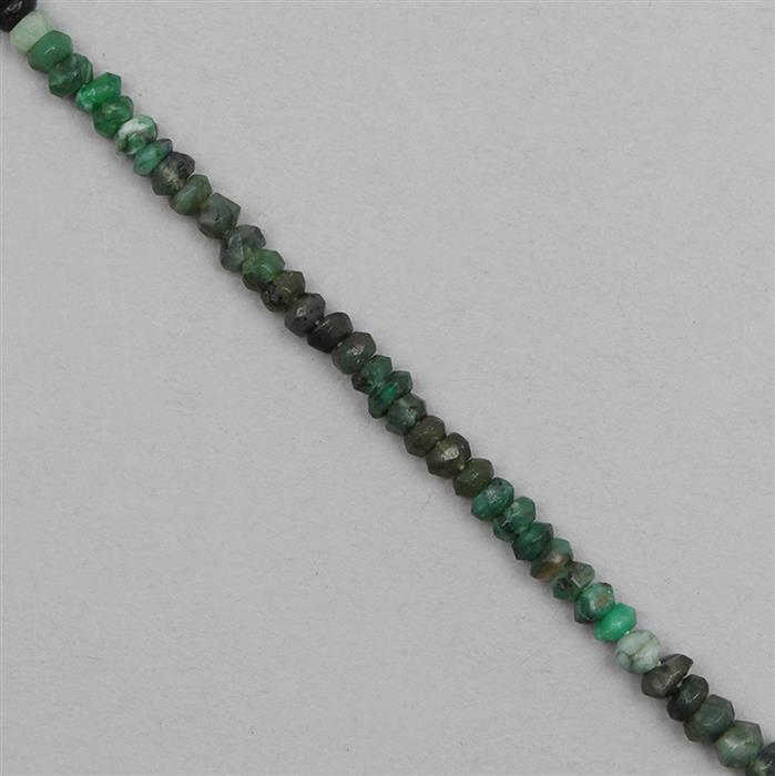 48cts Shaded Emerald Faceted Rondelles Approx 4x2mm, 31cm Strand.