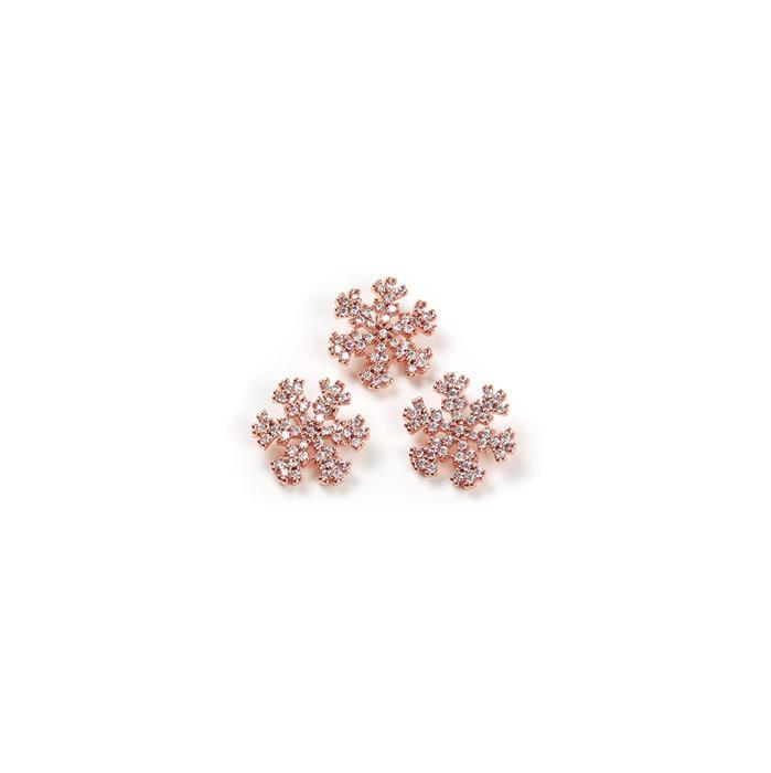 Rose Gold Plated Base Metal CZ Snowflakes, Approx 12mm (3pcs)