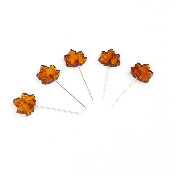 Baltic Cognac Amber Maple Leaf Approx 13x12mm,Sterling Silver Headpins 0.76mm/22Gauge, 25mm (5pc)
