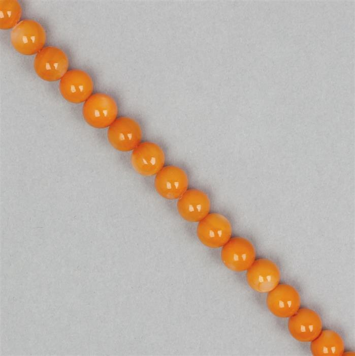 Orange Dyed Shell Rounds Approx 6mm
