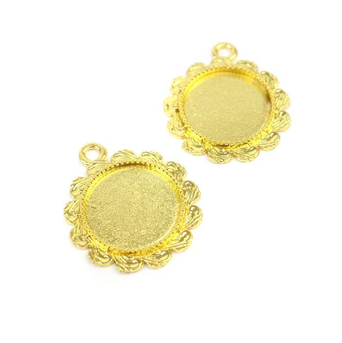 Gold Colour Bezel Pendant Fancy Round Approx 26mm (Set of 2)