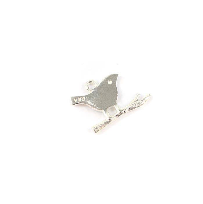 925 Sterling Silver Bird-On-Branch Charm Approx 11x14mm,1pcs