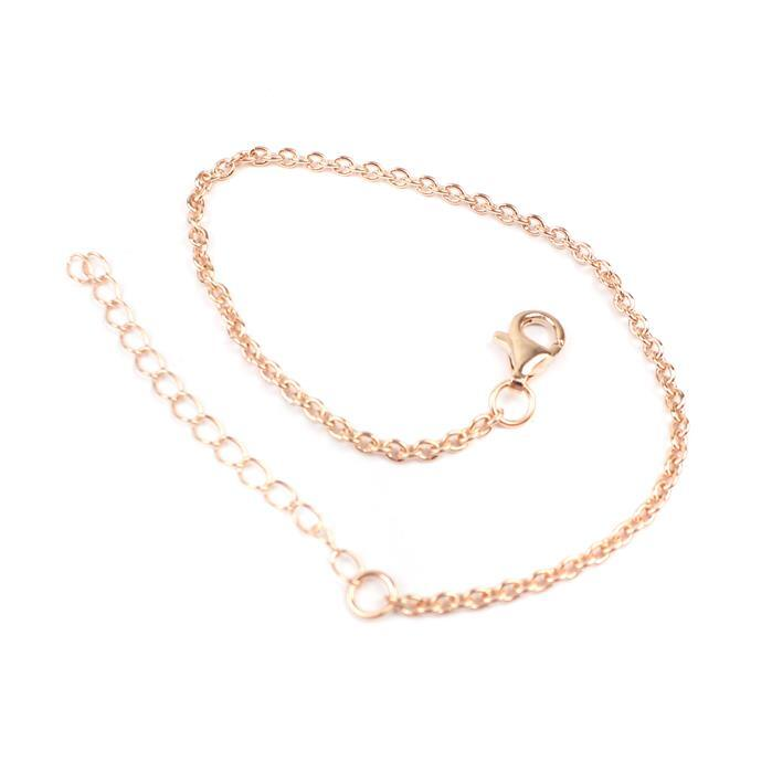 Rose Gold Plated 925 Sterling Silver Round Cable Chain Bracelet Approx 7