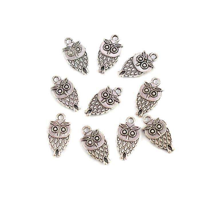 Silver Plated Alloy Owl Charms - Approx 18x9mm (10pcs/pk)