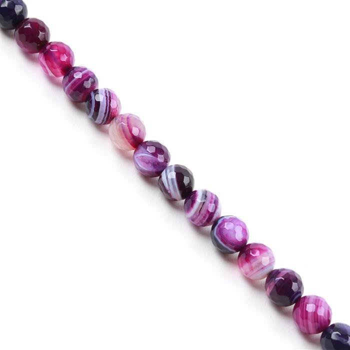 240cts Purple Stripe Agate Faceted Rounds Approx 10mm, 38cm/strand
