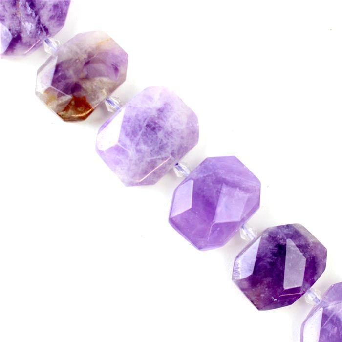 350cts Light Amethyst Faceted Slabs Approx 14x18 - 16x23mm, 38cm strand