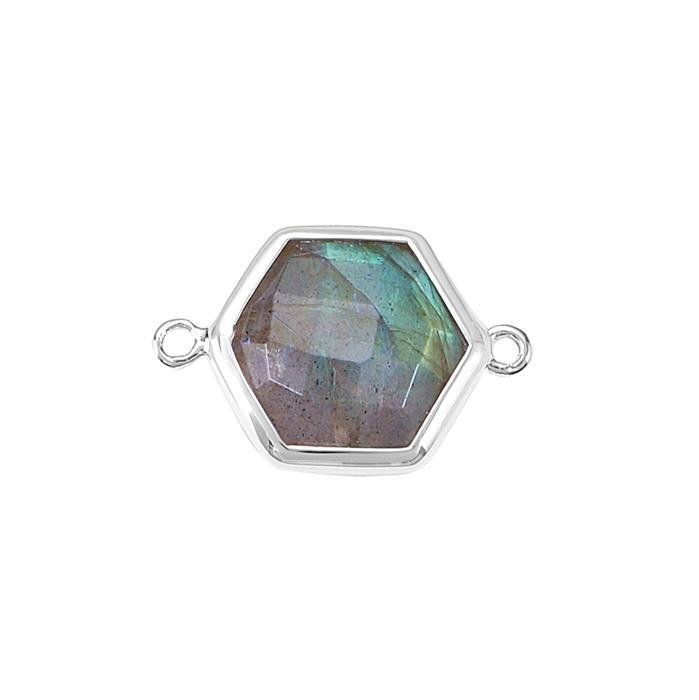 925 Sterling Silver Bezel Connector Approx 19x13mm Inc. 4.30cts Labradorite Briolette Cut Hexagon Approx 11mm.