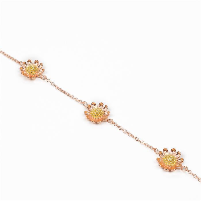 925 Sterling Silver 2 Tone Medium Daisy Flower Chain Approx 40cm, 1pc