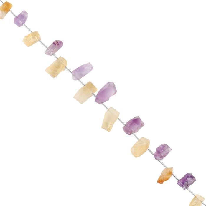 65cts Citrine & Amethyst Graduated Rough Slices Approx 10x5 to 15x6mm, 16cm Strand.