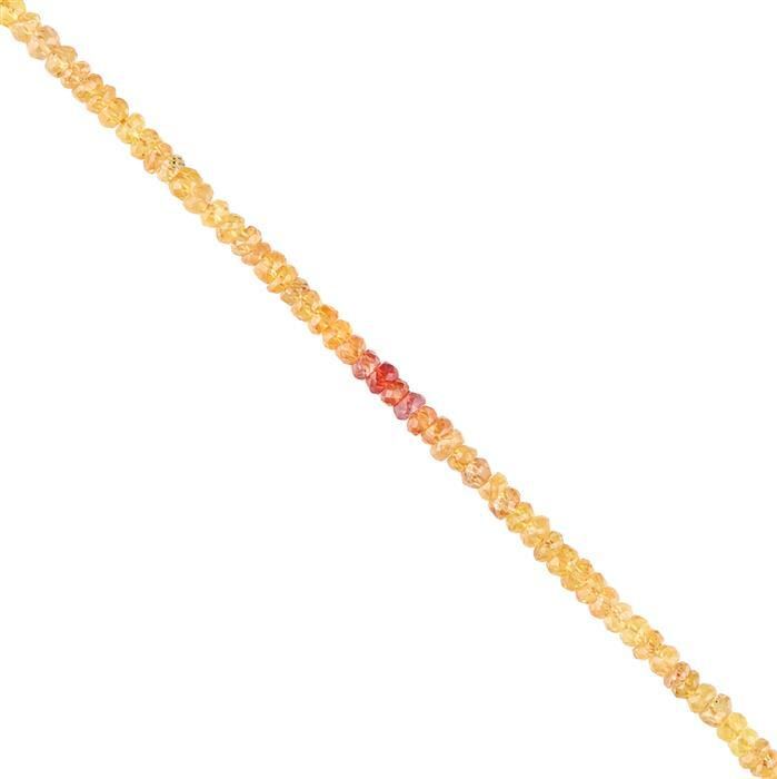 30cts Ombre Sapphire Graduated Faceted Rondelles Approx 2x1 to 3x1mm, 26cm Strand.