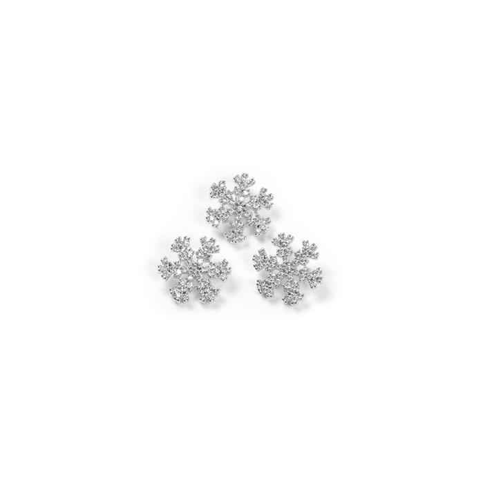 Silver Plated Base Metal CZ Snowflakes, Approx 12mm (3pcs)