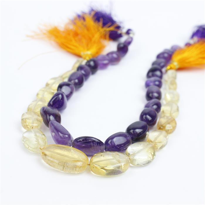 Purple & Gold! 130cts Amethyst Tumbled Gemstones & 95cts Citrine Plain Ovals.