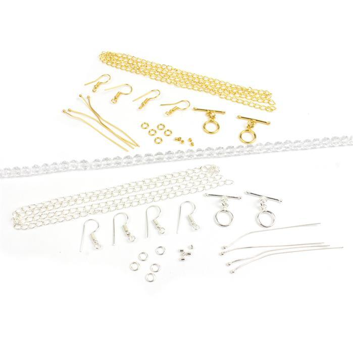 Essential Selections;Gold and Silver Plated Base Metal Findings Packs & 80cts Clear Quartz