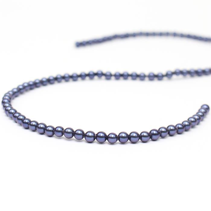 Indigo Shell Pearl Plain Rounds Approx 4mm, 38cm length