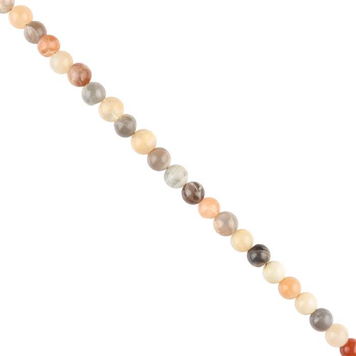 100cts Multi Colour Moonstone Graduated Plain Rounds Approx 6 to 7mm, 30cm Strand.