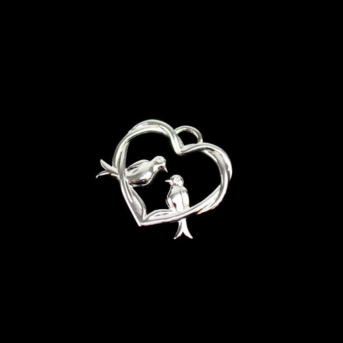 925 Sterling Silver Entwined Love Birds Heart Pendant Approx 23x24mm