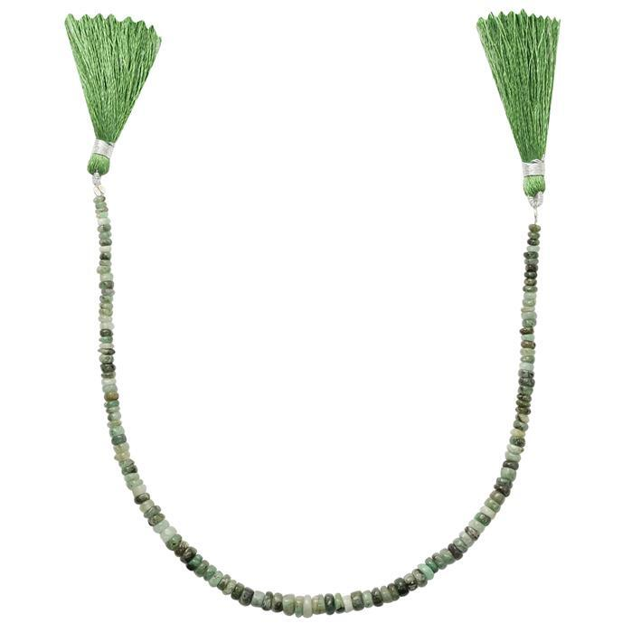 40cts Emerald Graduated Plain Rondelles Approx 2x1 to 5x3mm, 25cm Strand.