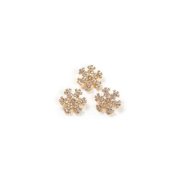 Gold Plated Base Metal CZ Snowflakes, Approx 11mm (3pcs)