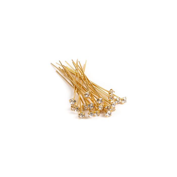 Swarovski Headpin 17704 Crystal Golden Shadow with Gold Plating, PP24, 0.05x3.81cm, (12pcs/pk)