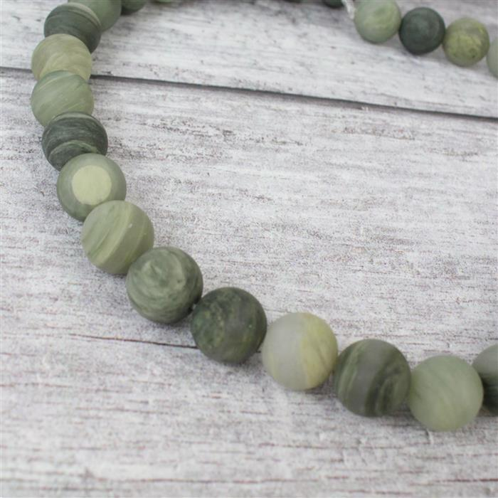 390cts Green Line Frosted Jasper Rounds Approx 12mm, 38cm strand