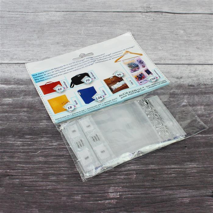 Kit Xchange Medium Ziptop Craft Bags Silver Trim 20pcs