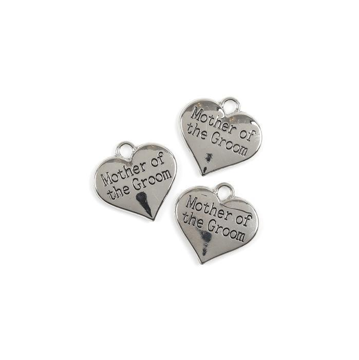 Silver Colour Heart Charms Engraved With Mother of the Groom Approx 30mm 3pk