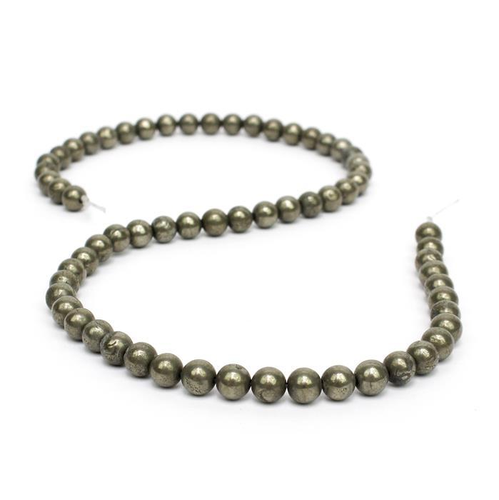 165cts Pyrite Plain Rounds, Approx 6mm, 38cm strand