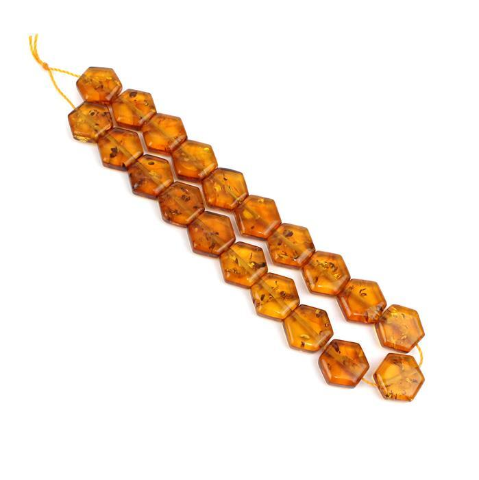 Baltic Cognac Amber Honeycomb Hexagon Beads Approx 10x11mm , Strand 20cm