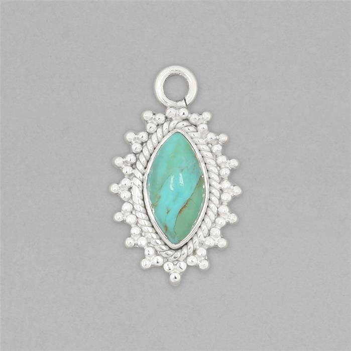 925 Sterling Silver Gemset Pendant Approx 27x16mm Inc. 2cts Turquoise Marquise Cabochon Approx 14x7mm