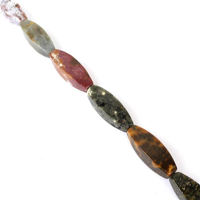 Min 400cts Ocean Jasper 4-side Tapered Tubes Marquise Approx 35x12mm 38cm length