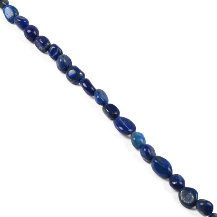 70cts Natural Lapis Lazuli Small Tumble from Approx 6x5 to 9x6mm, 38cm strand