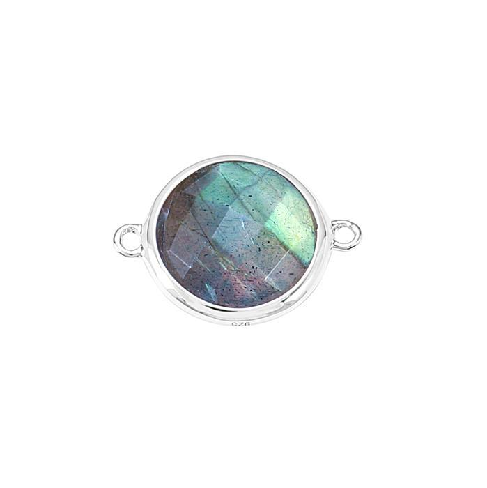 925 Sterling Silver Bezel Connector Approx 19x14mm Inc. 5cts Labradorite Briolette Cut Round Approx 12mm.