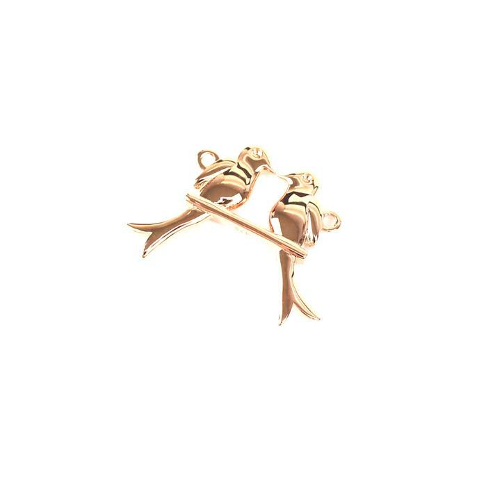 Rose Gold Plated 925 Sterling Silver Love Bird on a Swing Pendant / Connecter Approx 21x29mm