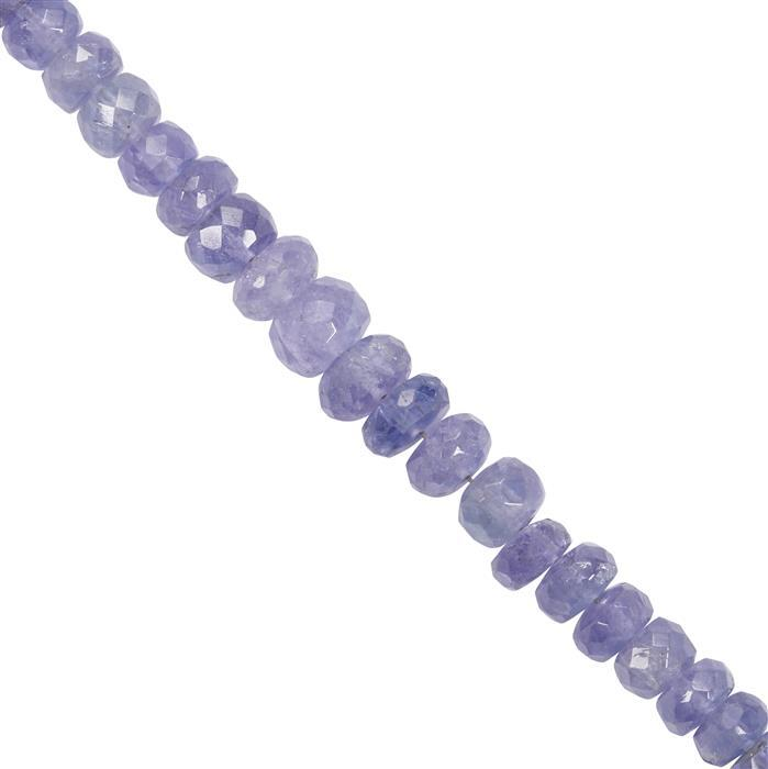 48cts Tanzanite Faceted Rondelles Approx 3x2.50mm to 6.50x5mm 19cm Strand