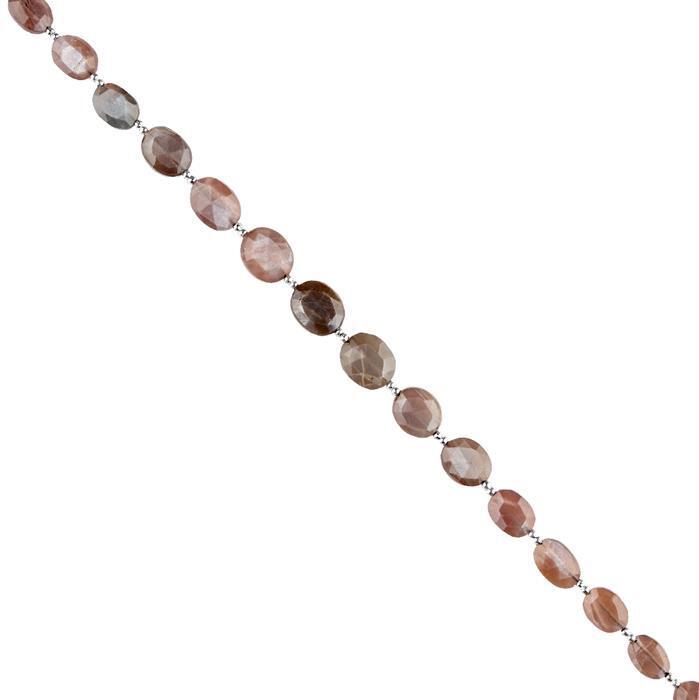 48cts Chocolate Moonstone Graduated Faceted Ovals Approx 7x6 to 12x10mm, 20cm Strand.