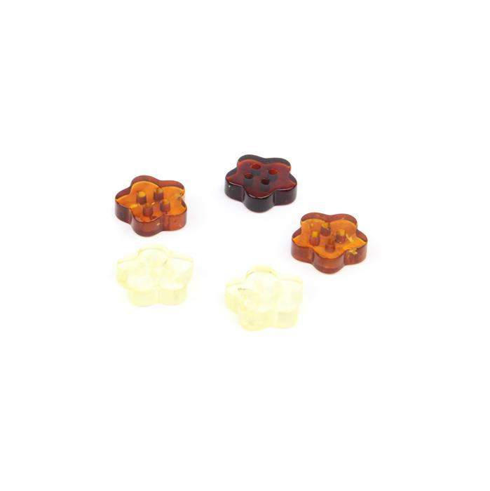 Baltic Multi-Colour Amber Flower Buttons Approx 12mm ( Pack of 5)