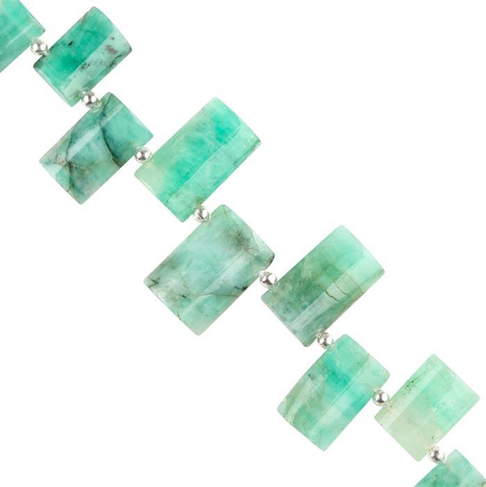 45cts Emerald Graduated Plain Fancy Shapes Approx 11x7 to 15x10mm, 8cm Strand.