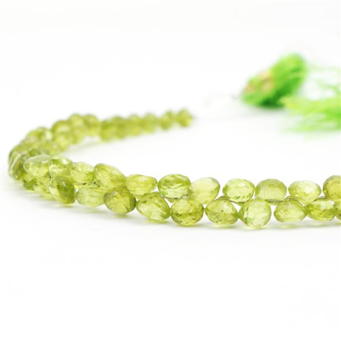 76cts Peridot Graduated Faceted Flat Drops Approx 3 to 6mm, 20cm Strand.