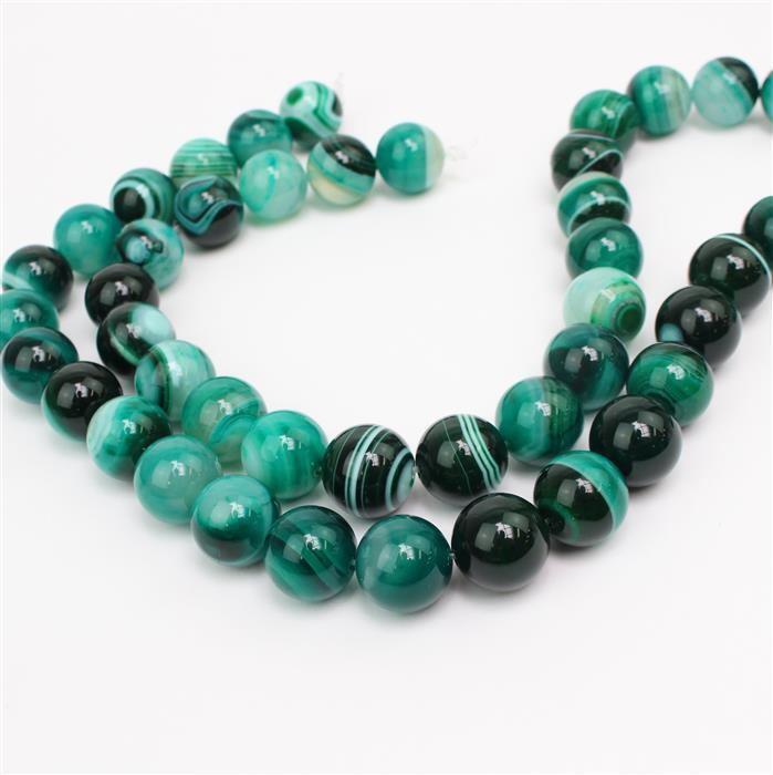 Double Trouble! Inc, 2x 650cts Dark Green Stripe Agate Plain Rounds Approx 16mm