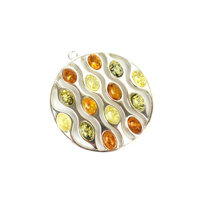 925 Sterling Silver Multi-Colour Baltic Amber Oversized Pendant Approx 35x35mm