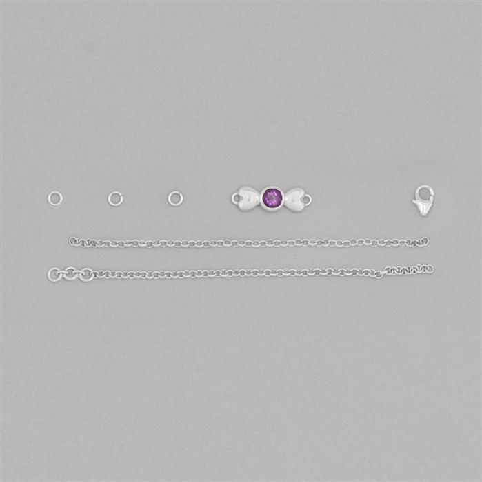 Birthstone Kit: 925 Sterling Silver Bracelet Kit Inc. 0.42cts Amethyst Round Approx 5mm