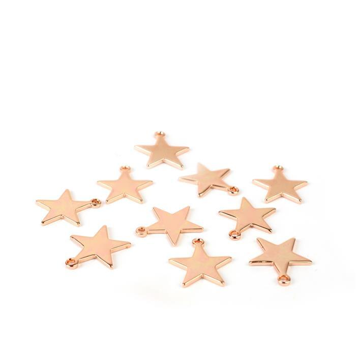 Rose Gold Plated Base Metal Star Charms Approx 12mm (10pk)
