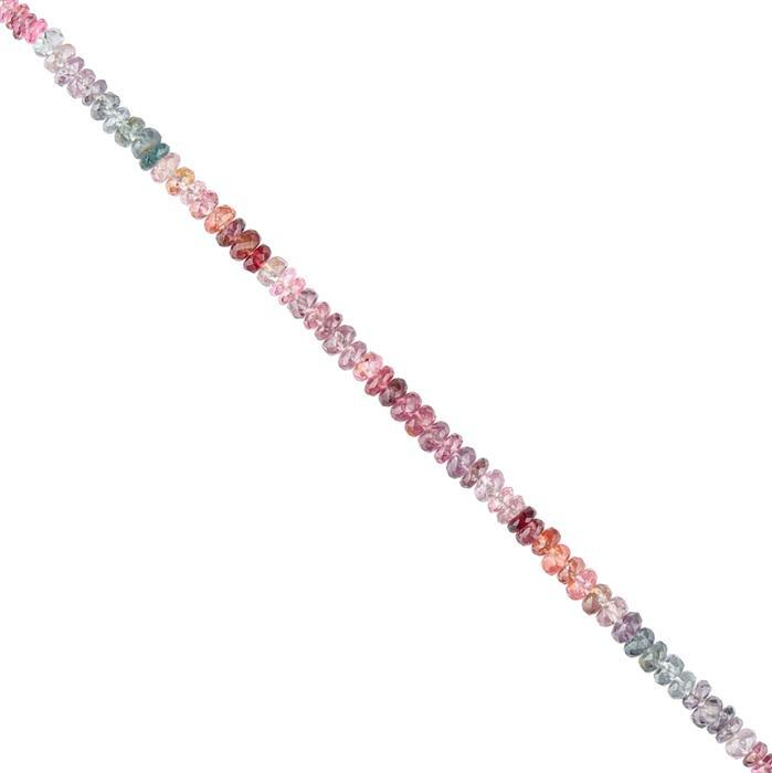 15cts Multi-Colour Spinel Graduated Faceted Rondelles Approx 2x1 to 3x2mm, 14cm Strand.