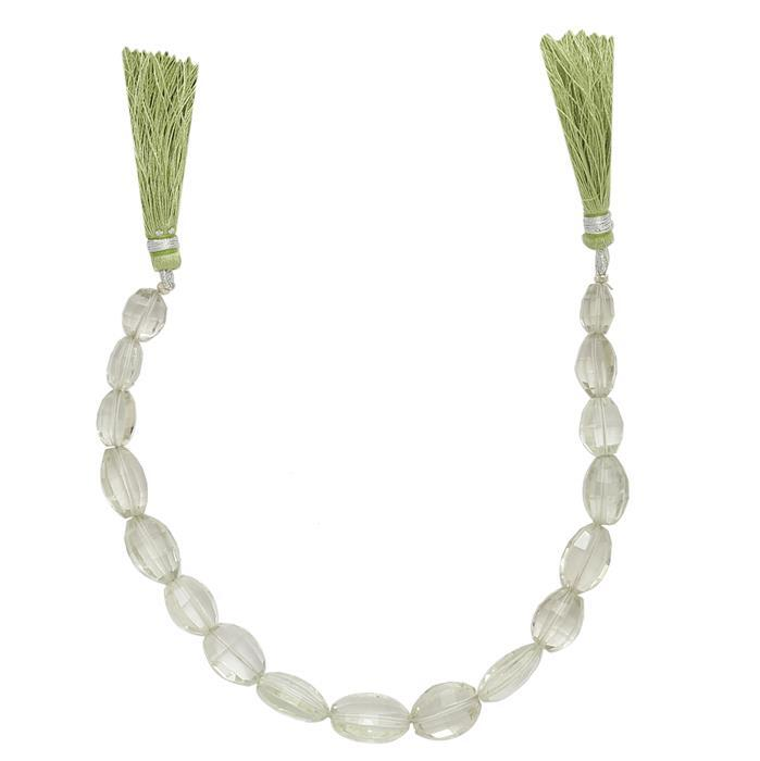 90cts Green Amethyst Graduated Faceted Barrels Approx From 9x7 to 15x10mm, 19cm Strand.