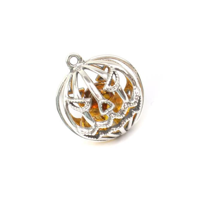 Baltic Cognac Amber Round Bead Approx 19mm in a Sterling Silver 'Pumpkin' Element Pendant