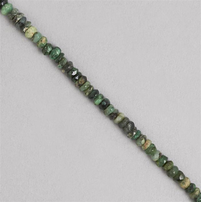 135cts Emerald Graduated Faceted Rondelles Approx 2x1 to 5x3mm, 1m Strand.