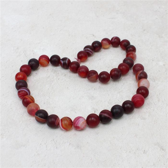 250cts Burgundy Striped Frosted Agate Rounds Approx 10mm, 38cm strand