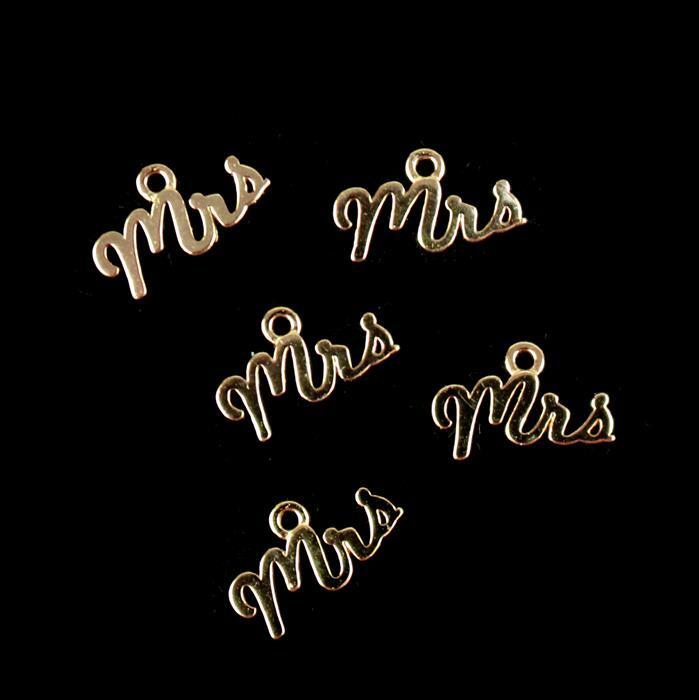 Rose Gold Plated 925 Sterling Silver Mrs Charms Approx 6x12mm 5pcs