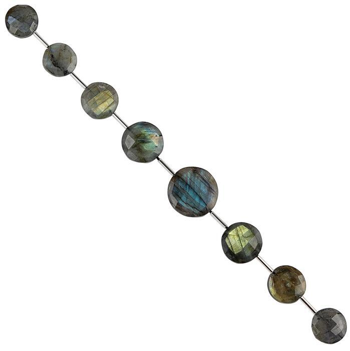 100cts Labradorite Graduated Faceted Coins Approx 12 to 18mm, 16cm Strand.