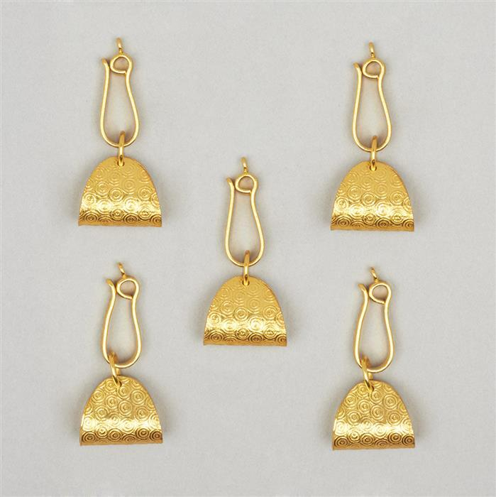 Gold Plated Copper Textured Fancy Lock With J-Hook (5pcs)
